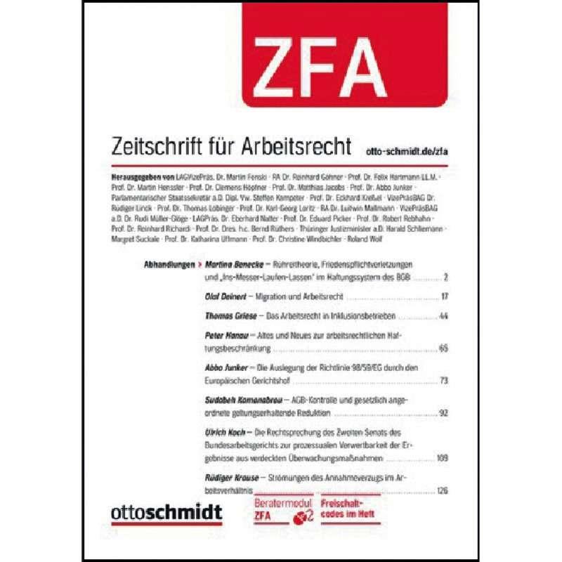 Zfa Zeitschrift Für Arbeitsrecht Abonnement Kaufen