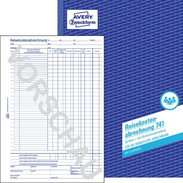 f/ür monatliche Abrechnung Avery Zweckform 741 Reisekostenabrechnung wei/ß 3 St/ück DIN A4 50 Blatt
