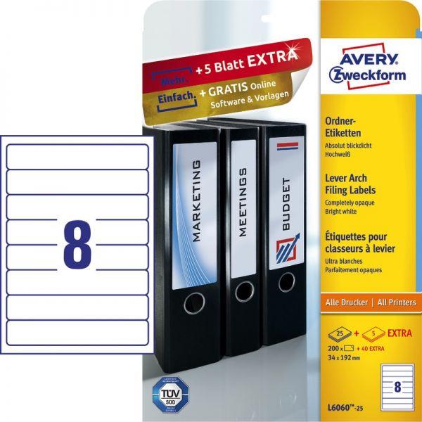 100 St Ordner Rücken Etiketten 192 x 61 mm Selbstklebend DIN A4 25 Blatt