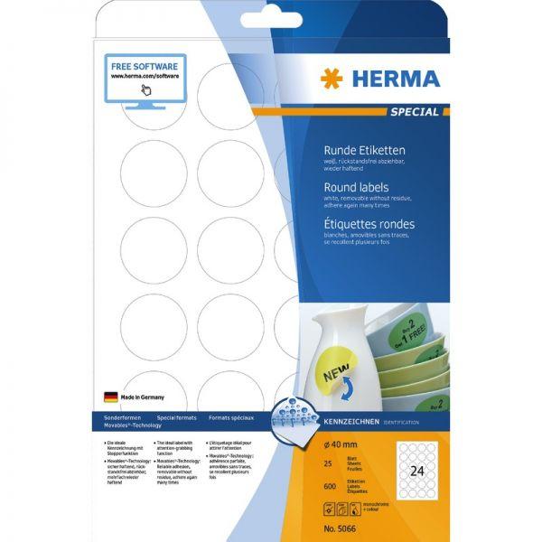 Vielzwecketiketten weiß Ø 50 mm rund Papier matt 192 St Herma