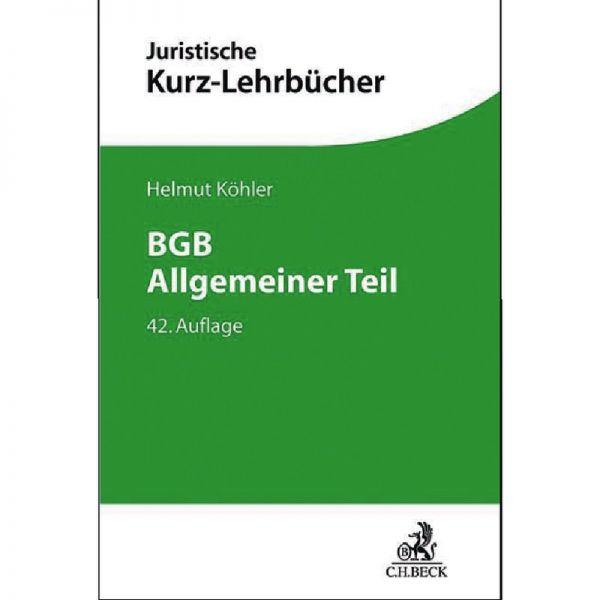 Bgb Allgemeiner Teil Köhler 42 Auflage 2018