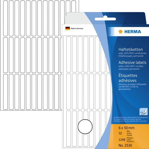 HERMA 2530 Vielzwecketiketten etiketten weiß 6 x 50 mm Papier matt 1248 St.