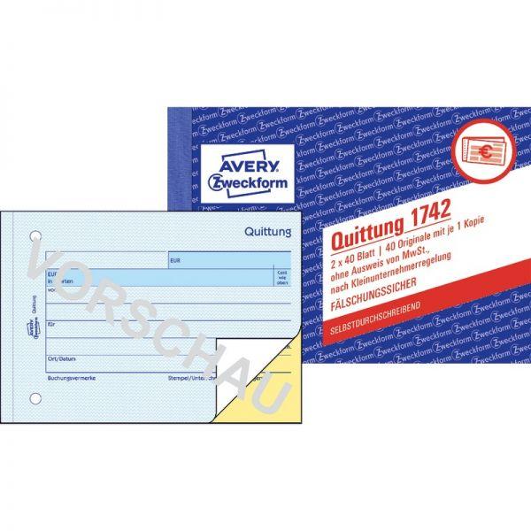 Avery Zweckform Quittung Kleinunternehmer 1742 Ohne Mwst A6 Quer