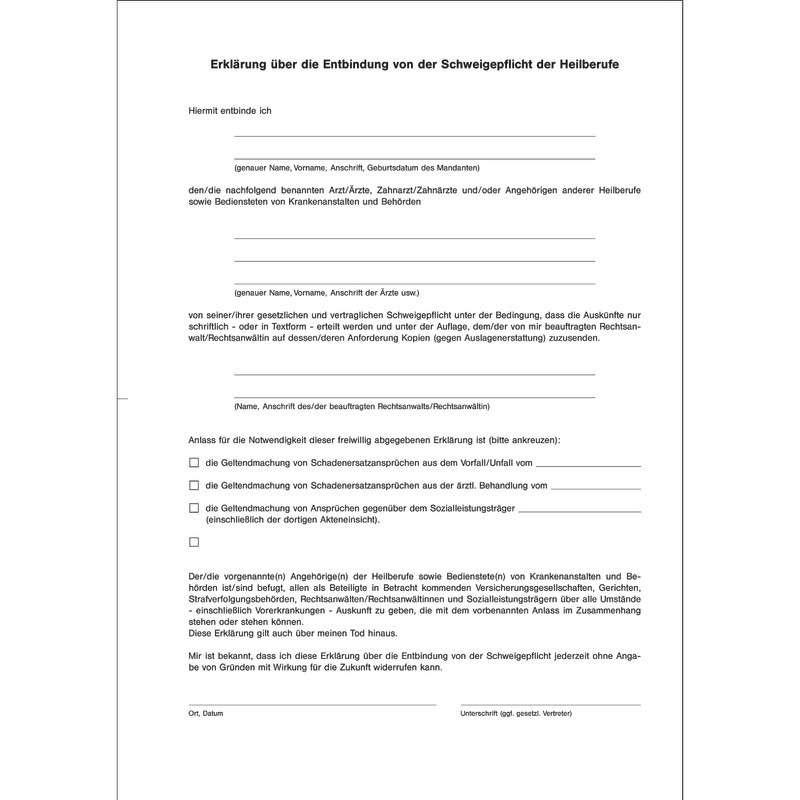 Schweigepflichtsentbindung Muster Vorlage Word Pdf 7