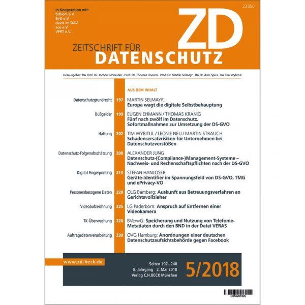 Zd Zeitschrift Für Datenschutz Abonnement