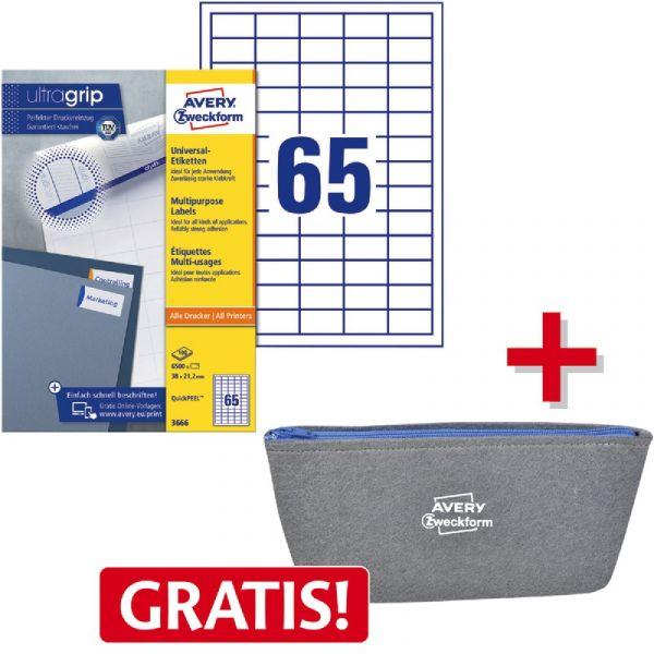 AVERY Zweckform QuickPEEL Adress Etiketten 38,1 x 21,2 mm weiß 6.500 Etiketten
