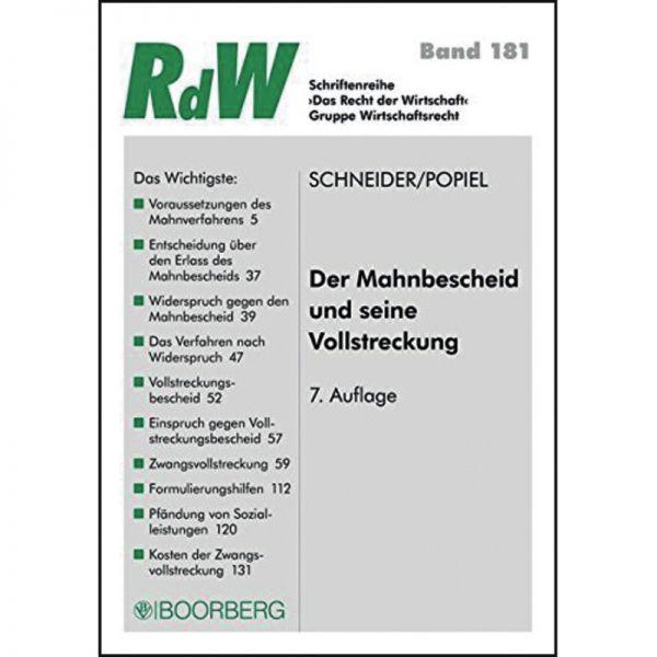 Der Mahnbescheid Und Seine Vollstreckung Schneider 7 Auflage 2015