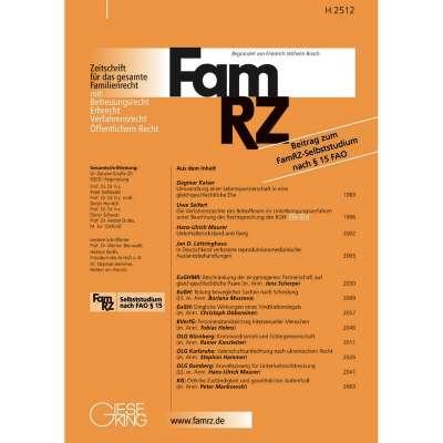 Famrz Zeitschrift Für Das Gesamte Familienrecht Abonnement